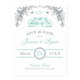Gray and Aqua Vintage Bicycle Save the Date Postcard