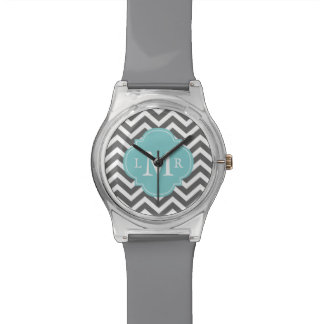 Gray and Aqua Zigzags Quatrefoil Monogram Watch