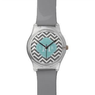 Gray and Aqua Zigzags Quatrefoil Monogram Wrist Watches
