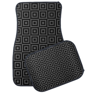 Gray and Black Abstract Square Pattern Floor Mat