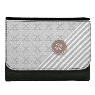 Gray and Black Brocade Stripe Leather Wallet