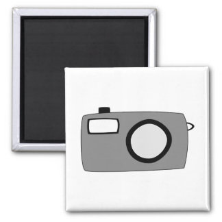Gray and Black Camera. On White. Magnet