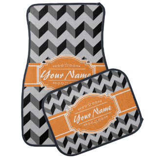 Gray and Black Chevron Orange Personalized Name Car Mat