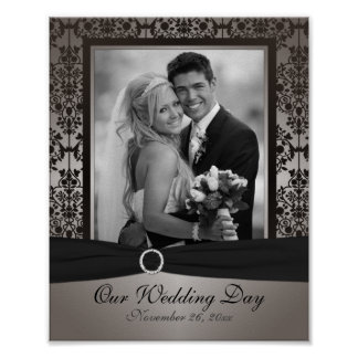 Gray and Black Damask Photo Frame Insert Poster