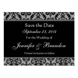 Gray and Black Damask Save The Date Postcard