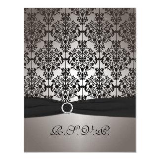 Gray and Black Damask Wedding RSVP Card