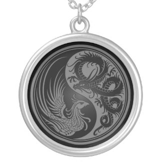 Gray and Black Dragon Phoenix Yin Yang Silver Plated Necklace
