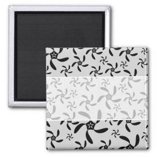 Gray and Black Futuristic Floral Design. Square Magnet