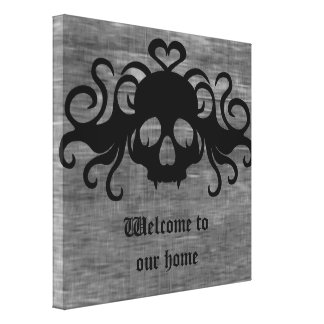 Gray and black goth fanged vampire skull canvas print