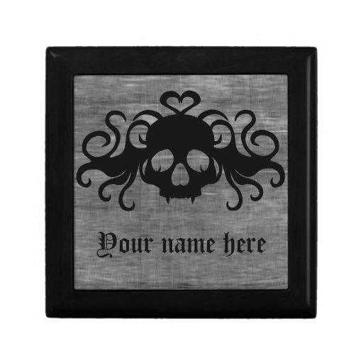 Gray and black goth fanged vampire skull trinket box