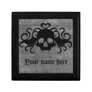 Gray and black goth fanged vampire skull small square gift box