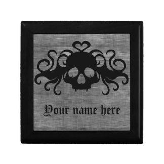 Gray and black goth fanged vampire skull small square gift box