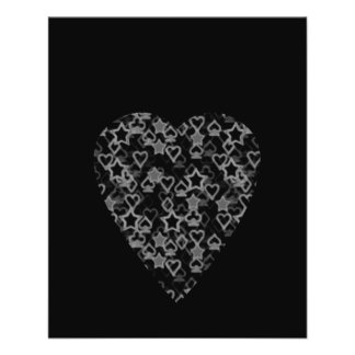 Gray and Black Heart. Patterned Heart Design. Personalized Flyer