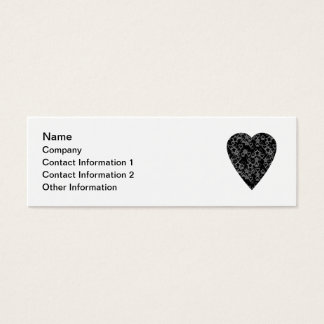 Gray and Black Heart. Patterned Heart Design. Mini Business Card