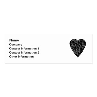 Gray and Black Heart. Patterned Heart Design. Pack Of Skinny Business Cards