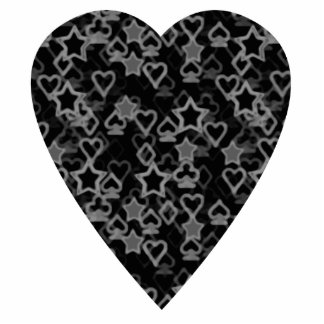 Gray and Black Heart. Patterned Heart Design. Photo Sculpture Badge