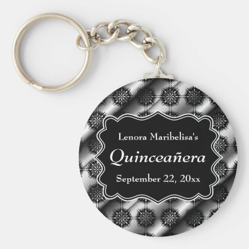 Gray and Black Pattern Print Quinceanera Keychain