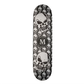 Gray and Black Skull Heads - Monogram 21.6 Cm Old School Skateboard Deck