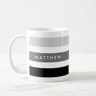 Gray and black stripes personalized coffee mug
