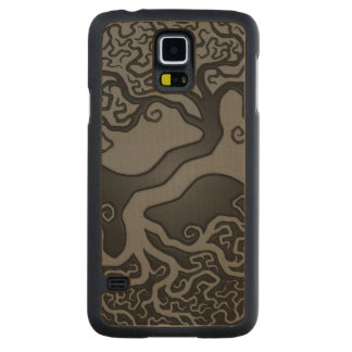 Gray and Black Tree of Life Yin Yang Carved Maple Galaxy S5 Case