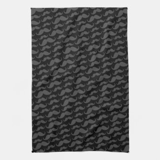 Gray and black trendy funny mustache pattern hand towel