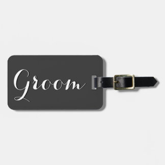 Gray and black wedding luggage tag for groom