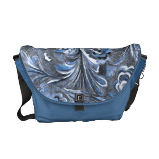 Gray and Blue Abstract Design Commuter Bag