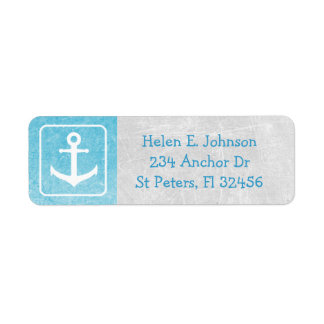 Gray and Blue Anchor Return Mailing Address Label