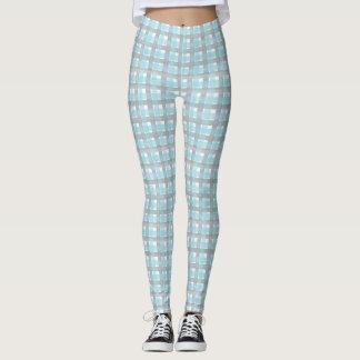 Gray and blue plaid design leggings