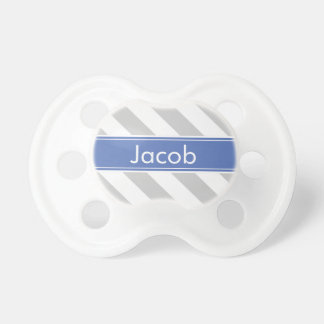 Gray and Blue Preppy Stripes Monogram Baby Pacifier