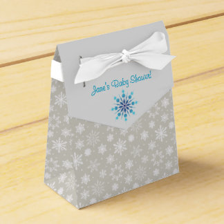 Gray and Blue Snowflake Favor Box