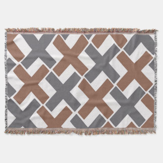 Gray and Brown Xs Throw Blanket