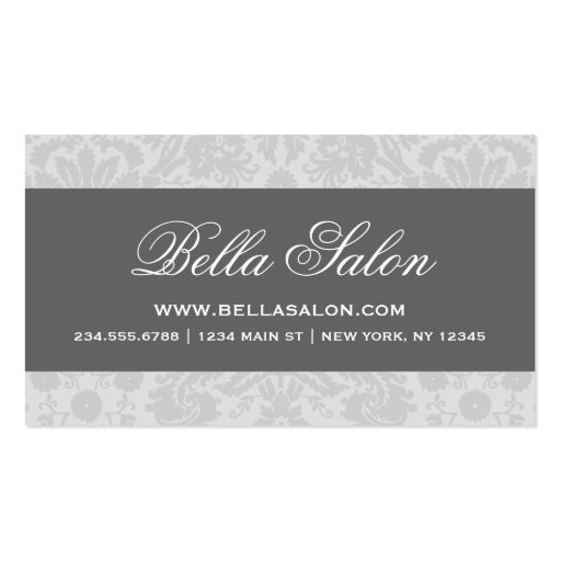 Gray and Charcoal Elegant Vintage Damask Business Card Templates