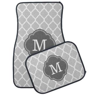 Gray and Charcoal Moroccan Quatrefoil Monogram Car Mat