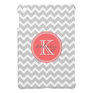 Gray and Coral Chevron Custom Monogram iPad Mini Cover
