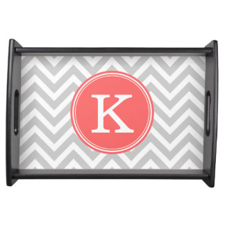 Gray and Coral Chevron Custom Monogram Serving Tray