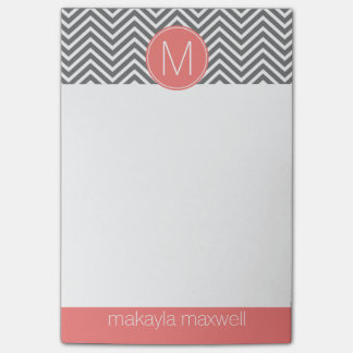 Gray and Coral Chevrons with Custom Monogram Post-it Notes