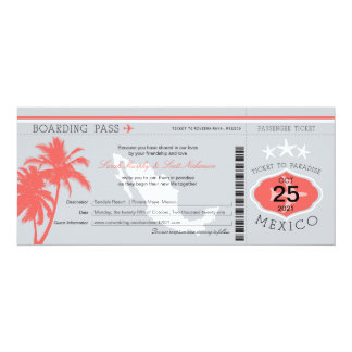 Gray and Coral Mexico Boarding Pass Wedding 10 Cm X 24 Cm Invitation Card