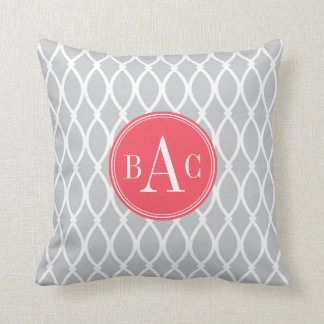 Gray and Coral Monogrammed Barcelona Print Throw Pillow