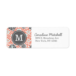 Gray and Coral Retro Floral Damask Custom Monogram