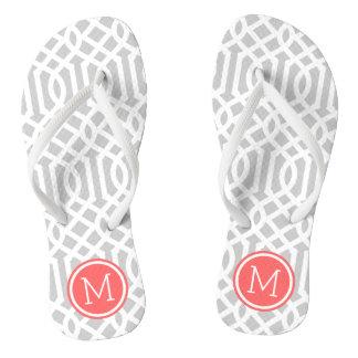 Gray and Coral Trellis Monogram Flip Flops