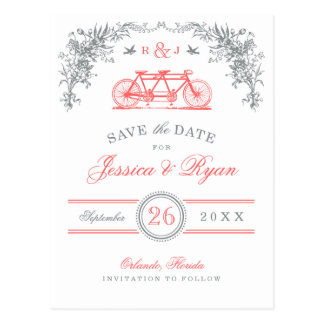 Gray and Coral Vintage Bicycle Save the Date Postcard