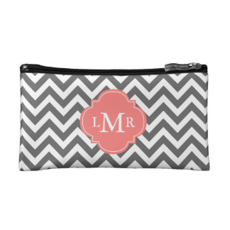 Gray and Coral Zigzags Monogram Cosmetic Bags