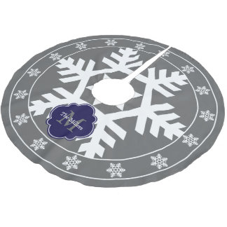 Gray and Dark Blue Giant Snowflake Brushed Polyester Tree Skirt