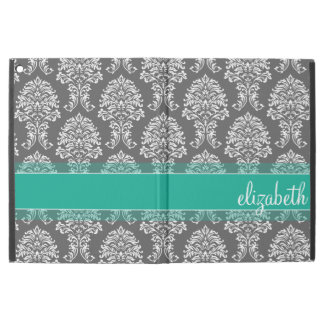 "Gray and Emerald Vintage Damask Pattern with Name iPad Pro 12.9"" Case"