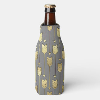 Gray and Faux Gold Arrows Pattern Bottle Cooler