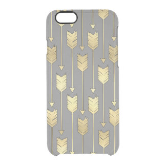 Gray and Faux Gold Arrows Pattern Clear iPhone 6/6S Case