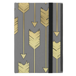 Gray and Faux Gold Arrows Pattern iPad Mini Cases