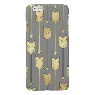 Gray and Faux Gold Arrows Pattern iPhone 6 Plus Case