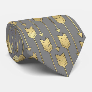 Gray and Faux Gold Arrows Pattern Tie
